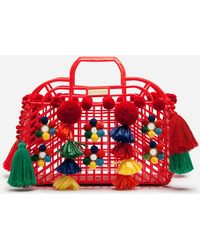 Lyst - Dolce   Gabbana Kendra Lurex-trimmed Embellished Straw Tote ... 83b0c5fb80b
