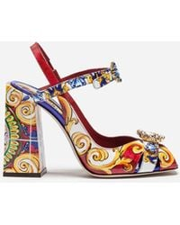 Dolce & Gabbana - Sandal In Printed Patent Leather With Jewel Buckles - Lyst