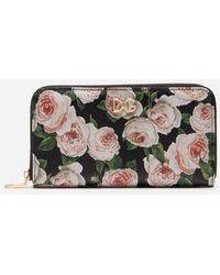 Dolce & Gabbana - Zip-around Wallet In Printed Dauphine Calfskin With Logo - Lyst