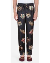 Dolce & Gabbana - Pajama Pants In Printed Silk - Lyst