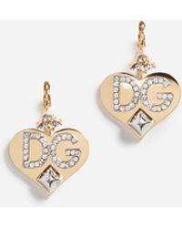 Dolce & Gabbana - Earrings With Branded Pendants - Lyst