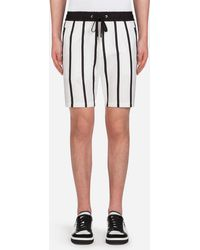 Dolce & Gabbana - Printed Stretch Cotton Jogging Shorts With Patch - Lyst