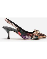 Dolce & Gabbana - Zapatos Con Tira Trasera De Jacquard De Flores - Lyst