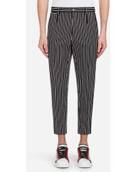 Dolce & Gabbana - Printed Stretch Cotton Trousers With Patch - Lyst