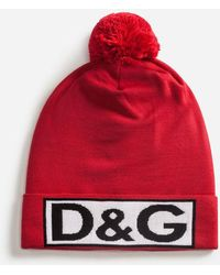 Dolce & Gabbana - Wool Hat With Pom-pom And Patch - Lyst