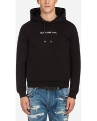 Dolce & Gabbana - Cotton Sweatshirt With Embroidery And Hood - Lyst