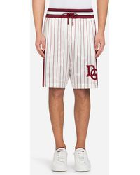 Dolce & Gabbana - Printed Silk Jogging Shorts With Patch - Lyst
