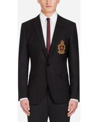 Dolce & Gabbana - Martini Blazer In Jacquard Wool With Patch - Lyst