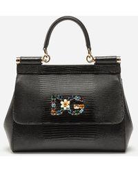 76e42efdd67e Dolce   Gabbana - Small Calfskin Sicily Bag With Iguana-print And Dg  Crystal Logo