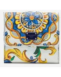 Dolce & Gabbana - French Flap Wallet In Majolica-print Dauphine Calfskin - Lyst
