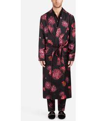 Dolce & Gabbana - Robe De Chambre En Soie Imprimée - Lyst