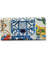 Dolce & Gabbana - Continental Wallet In Printed Dauphine Calfskin - Lyst