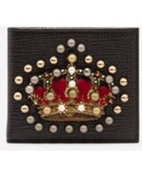 Dolce & Gabbana - Calfskin Wallet With Crown Patch - Lyst