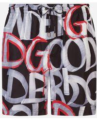 Dolce & Gabbana - Bañador Boxer Medio Estampado Y Con Funda - Lyst
