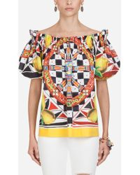 26bf9100b0c Dolce   Gabbana - Cotton Top With Sicilian Carretto And Lemon Print - Lyst
