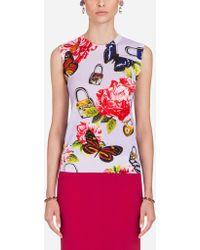 Dolce & Gabbana - Sleeveless Sweater In Printed Cashmere/silk - Lyst