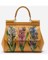 Dolce & Gabbana - Sicily Handbag In Printed Dauphine Calfskin With Embroideries - Lyst