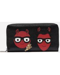 Dolce & Gabbana - Cartera Con Cremallera Alrededor Con Parche De Los Diseñadores - Lyst