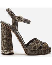 Dolce & Gabbana - Platform Sandals In Glittery Leopard-print With Bejeweled Heel - Lyst