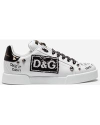 387132bfa836 Dolce   Gabbana - Portofino Sneakers In Calfskin With Patch And Embroidery  - Lyst