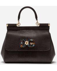 Dolce & Gabbana - Small Sicily Handbag In Iguana Print Calfskin With Dg Logo Crystalsâ - Lyst