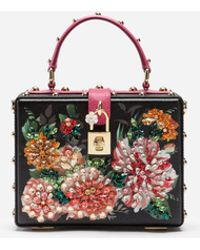 17ea463010 Dolce   Gabbana - Dolce Box Bag In Printed Dauphine Calfskin With Embroidery  - Lyst