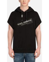 Dolce & Gabbana - Sweat-Shirt À Capuche En Coton Avec Écusson - Lyst