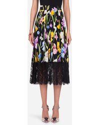 Dolce & Gabbana - Stretch Silk Charmeuse & Lace Skirt - Lyst