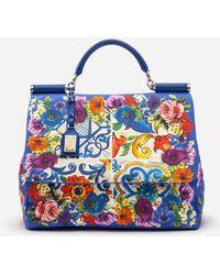 Dolce & Gabbana - Sicily Soft Bag In Majolica-print Canvas - Lyst
