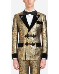 Dolce & Gabbana Tuxedo-style Smoking Jacket In Jacquard Wool With Patches