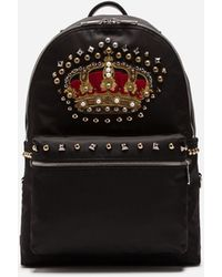 Dolce & Gabbana - Nylon Vulcano Backpack With Crown Patch - Lyst