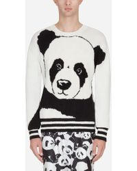 Dolce & Gabbana - Crew Neck Intarsia Knit In Cashmere And Wool - Lyst