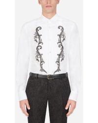 Dolce & Gabbana - Camisa De Esmoquin Ajuste Gold De Algodón Con Bordado - Lyst