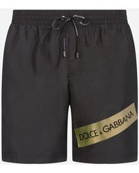 Dolce & Gabbana - Mid Swimming Trunks With Logotape And Pouch Bag - Lyst