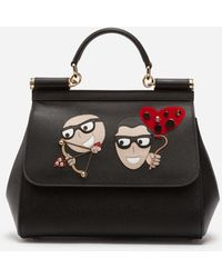 Dolce & Gabbana - Sicily Handbag In Dauphine Calfskin And Designers' Patches - Lyst