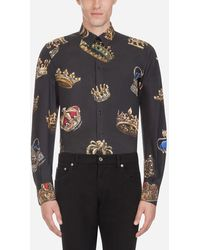 Dolce & Gabbana Gold Fit Hemd Aus Bedruckter Baumwolle
