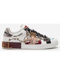 Dolce & Gabbana - Sneaker Portofino Aus Bedrucktem Kalbsleder Mit Cupido-Patch Und Applikationen - Lyst