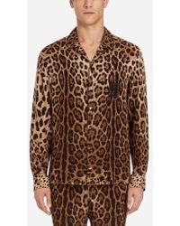 Dolce & Gabbana - Chemise De Pyjama En Soie Imprimée - Lyst