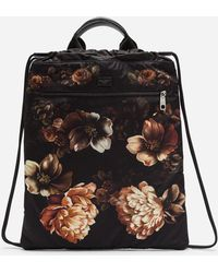 Dolce & Gabbana - Printed Nylon Backpack With Drawstring - Lyst