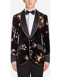 Dolce & Gabbana - Smoking Jacket In Printed Velvet - Lyst