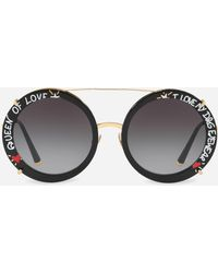 2782afccf55e Dolce   Gabbana - Round Clip-on Sunglasses In Gold Metal With Graffiti  Print -