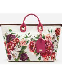 Dolce & Gabbana - Medium Capri Shopping Bag In Printed Canvas - Lyst