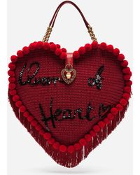 Dolce & Gabbana - Heart-shaped Bag With Hand Embroidery - Lyst