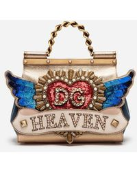Dolce   Gabbana - Medium Sicily Bag In A Mix Of Materials With Patch And  Embroideries d5c9e58fb7a89