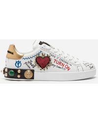 Dolce & Gabbana - Calfskin Portofino Sneakers With Patch - Lyst