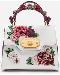 Dolce & Gabbana - Medium Calfskin Welcome Bag With Floral Embroidery And Appliqué - Lyst