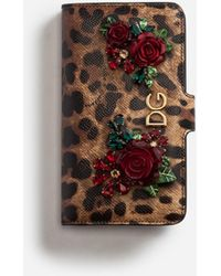 Dolce & Gabbana - Iphone X Case In Printed Dauphine Calfskin With Logo And Appliqués - Lyst