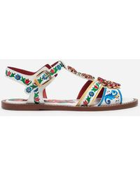 Dolce & Gabbana - Sandals In Printed Patent Leather With Jewel Applications - Lyst