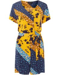 0ad46d5e27c Dorothy Perkins - Blue And Yellow Cutabout Horn Button Playsuit - Lyst