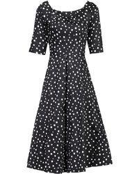 Jolie Moi - Black Pattern Midi Fit And Flare Dress - Lyst